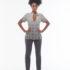 Calça cinza bolso bicolor + casaco manga curta traçado com botões – Afroflowerism