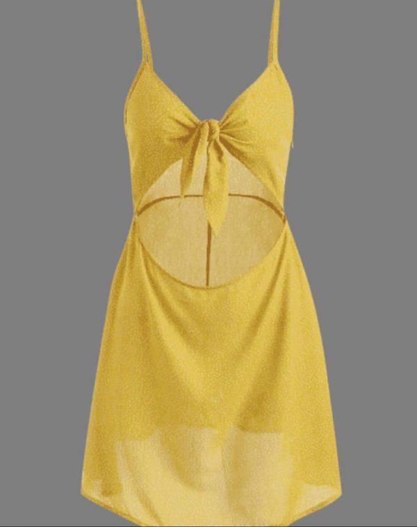 Vestido Zaful Amarelo Com Abertura Na Barriga