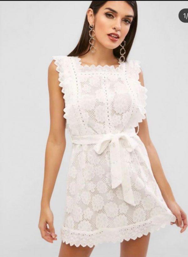 Vestido Zaful Branco Rendado