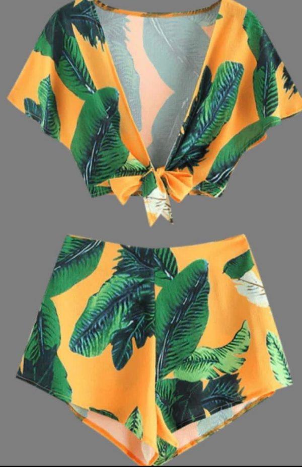 Conjunto  Zaful Amarelo Com folhas Calção  e Top