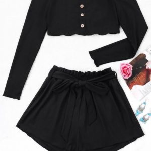 Conjunto  Zaful Preto Calcao e Top
