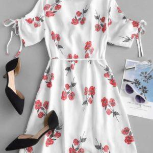 Vestido  Zaful Branco Com Flores Vermelhas