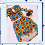 Conjunto Tamires saia calção – Azul e girassol – Copy