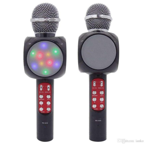 Microfone Com Luz Disco 2 em 1 Para Karaokê