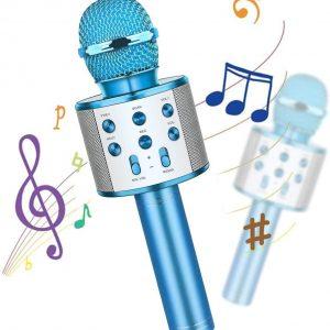 Microfone Bluetooth 2 em 1 Para Karaokê Azul