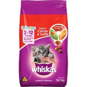 Ração Whiskas Para Gato Filhote.Sabor Carne e Leite 10kg