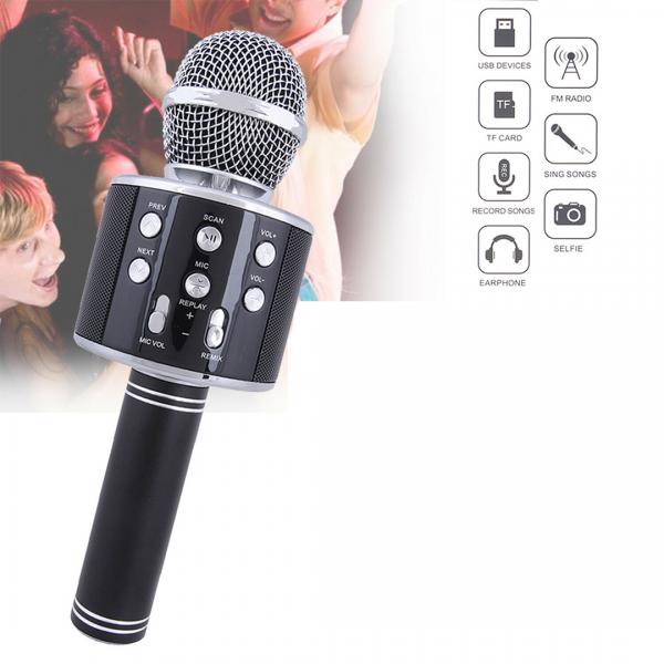 Microfone Bluetooth 2 em 1 Para Karaokê Preto