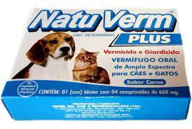 Natu vermiífugo em Xarope Indicado na Prevenção e Tratamento de Parasitoses Intestinais e da Giardíase em Cães  20ml